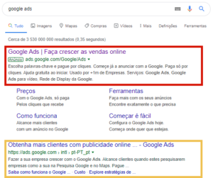 google search result for google ads