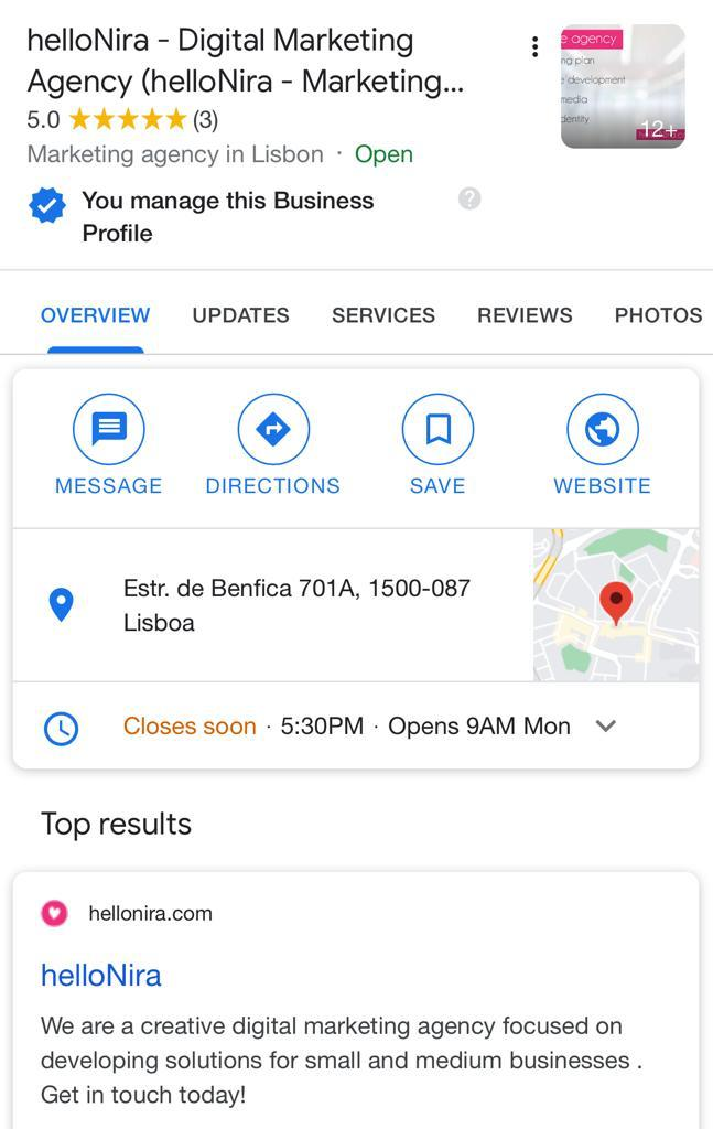 hellonira details on google search after subscribe for Google My Business